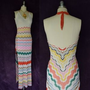 MISSONI Italy chevron stripe knit maxi dress